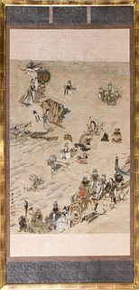 Chinese Ink and Colors on Paper Scroll Painting