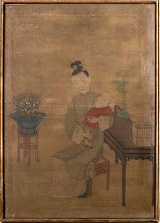 Chinese School Painting on Silk, 19th C