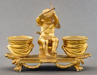 Louis XVI Style Gilt Bronze Figural Inkwell