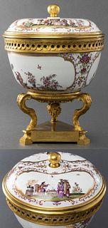 Meissen Höroldt Manner Bronze Mounted Covered Bowl