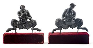 Grand Tour Bronze Satyrs on Stands, Pair