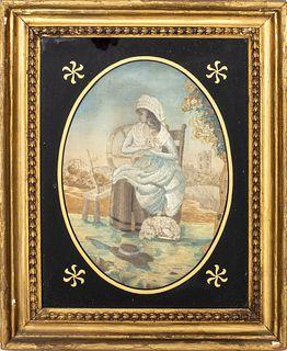 19th C. Georgian Silk & Watercolor Oval Tapestry