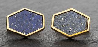 Orianne Collins 14K Gold Hexagonal Lapis Cufflinks