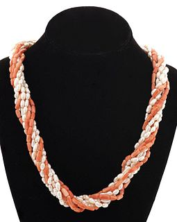 14K Yellow Gold Angel Skin Coral & Pearl Necklace