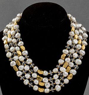 18K Yellow Gold Pearl & Rock Quartz Necklace