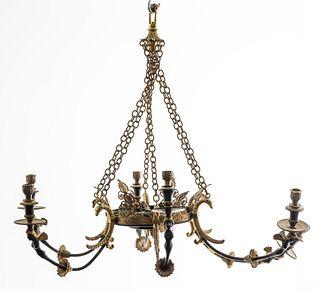 Swedish Empire Style Gilt Bronze Chandelier