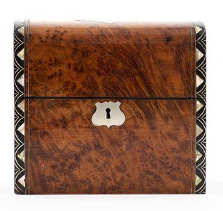 English Victorian Inlaid Burlwood Perfume Box