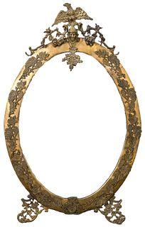 Rococo Revival Gilt Metal Oval Mirror