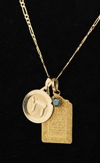 Judaica 14K Yellow Gold & Turquoise Charm Necklace