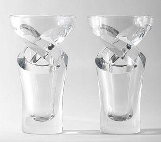 """Baccarat Crystal """"Tornado"""" Vases, Pair"""