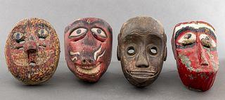 Javanese Carved Wood Masks, 4 PCS