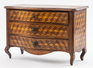 French Miniature Parquetry Inlaid Commode