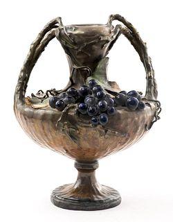 Amphora Austrian Art Nouveau Grape Motif Vase