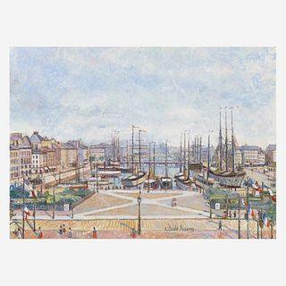Hugues Claude Pissarro (French, B. 1935) Le Port du Havre