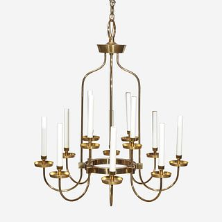 In the Style of Tommi Parzinger (German, 1903-1981) Twelve-Light Chandelier, USA, circa 1970s