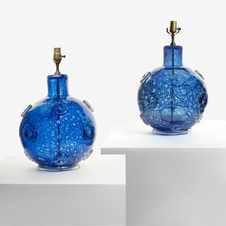 """Ercole Barovier (Italian, 1889-1974) Pair of """"Efeso"""" Table Lamps, Italy, 1964"""