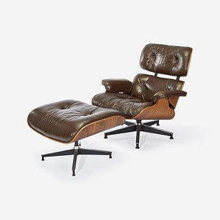 Charles Eames (American, 1907-1978) & Ray Eames (American, 1912-1988) Lounge Chair, Model #670, and Ottoman, Model #671, Herman Miller, USA, designed