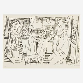 Max Beckmann (German, 1884-1950) In the Tram (In der Trambahn)