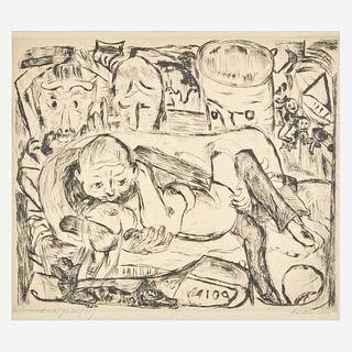 Max Beckmann (German, 1884-1950) Lovers II (Liebespaar II), plate 5 from the Gesichter portfolio