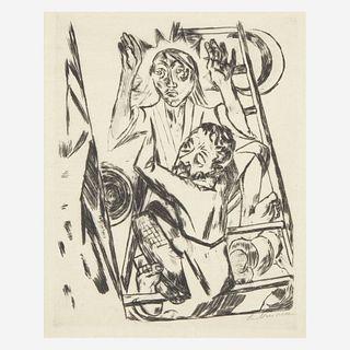 Max Beckmann (German, 1884-1950) Jacob Wrestling With the Angel (Jakob ringt mit dem Engel), plate 22 from Rembrandt: Religiöse Legenden