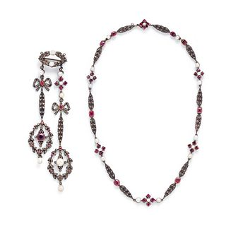 FRENCH, ANTIQUE, SILVER-TOPPED GOLD, RUBY, PEARL AND DIAMOND SET