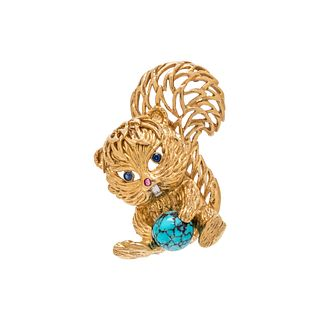 CARTIER, YELLOW GOLD AND MULTIGEM SQUIRREL BROOCH
