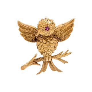 TIFFANY & CO., VINTAGE, YELLOW GOLD BIRD BROOCH