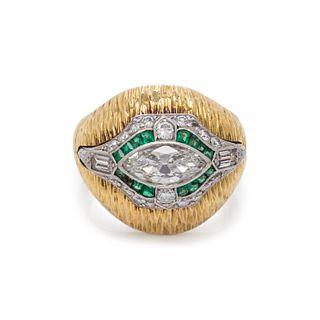 YELLOW GOLD, DIAMOND AND EMERALD RING