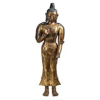 A GILT-BRONZE BUDDHA FIGURE