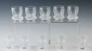 """Set of Ten Baccarat """"Aladdin"""" Shot Glasses, 20th c., of circular form with swirled wave bases, the underside with the Baccarat stamp, H.- 2 5/8 in., D"""