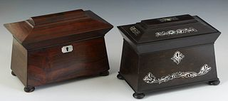 Two English Rosewood Tea Caddies, 19th c., of sarcophagus form, one with mother-of-pearl inlay, on wooden disc feet, Inlaid- H.- 7 1/2 in., W.- 9 5/8
