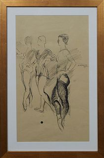 """American School, """"Ballerinas at the Bar,"""" c. 1979, ink on paper, signed indistinctly center right and dated, presented in a gilt frame, H.- 18 3/4 in."""