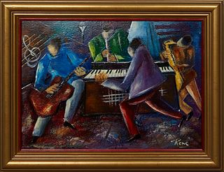 """Rene Ragi (New Orleans/Egypt), """"Jazz Musicians,"""" 20th c., oil on board, signed lower right, presented in a gilt frame, H.- 9 1/2 in., W.- 13 1/4 in.,"""