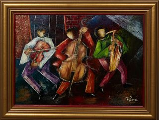 """Rene Ragi (New Orleans/Egypt), """"Jazz Trio,"""" 20th c., oil on canvas, signed lower right, presented in a gilt frame, H.- 9 1/2 in., W.- 13 1/4 in., Fram"""