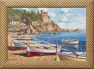 """Torregassa (Spain), """"Fishing Boats Docked at the Harbor with Castle in Distance,"""" 20th c., oil on canvas, signed lower left, presented in a wood frame"""