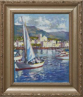 """Torregassa (Spain), """"Sailboats Off the Spanish Coast,"""" 20th c., oil on canvas, unsigned, purchased from the artist, presented in a silvered frame, H.-"""