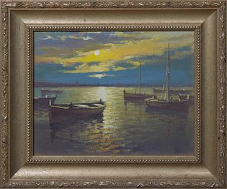 """Torregassa (Spain), """"Boats at Sunset,"""" late 20th c., oil on canvas, unsigned, purchased from the artist, presented in a silvered frame, H.- 8 1/4 in.,"""