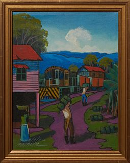 """Roy Ravee (Honduras), """"Two Men Loading Bananas onto Railcars,"""" 2011, acrylic on canvas, signed and dated lower left, presented in a gilt frame, H.- 11"""