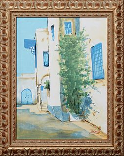 """Sandi (Tunisia), """"Tunisian Street Scene,"""" 20th c., oil on canvas, signed lower left, presented in a painted wood frame, H.- 15 1/8 in., W.- 11 1/4 in."""