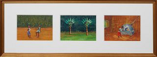 """Champ Delaine, 20th c., """"Two Figures,"""" """"Two Palm Trees,"""" & """"Mother & Child by Oven,"""" 20th c., three acrylics on board, presented in one gilt frame, ea"""