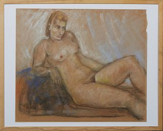 """A. Olson (American), """"Reclining Nude,"""" 1942, pastel on paper, signed and dated lower left, presented in a wood frame, H.- 21 3/4 in., W.- 25 1/4 in.,"""
