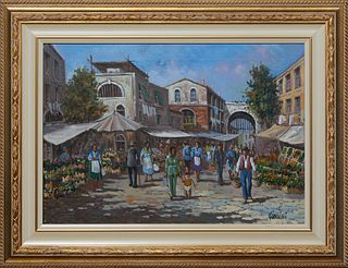 """Sergio Giolini (1949-, Italy), """"Village Scene in Taormina, Sicily,"""" 21st c., oil on canvas, signed lower right, presented in a gilt relief frame, H.-"""