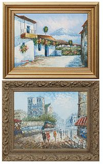 """In the Manner of Caroline Burnett (1877-1950, American), """"View of Notre Dame,"""" 21st c., oil on canvas, signed lower right, presented in a carved wood"""