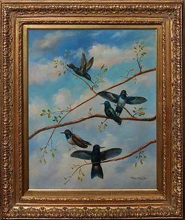 """South American School, """"Five Hummingbirds,"""" 20th c., acrylic on canvas, signed indistinctly lower right, presented in a gilt wood frame, H.- 23 1/2, W"""