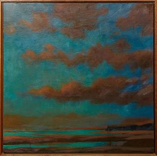 """Janet Jennings (Long Island, New York), """"Accabonac Low,"""" 2006, oil on canvas, signed lower right, also signed, titled and dated en verso on stretcher,"""
