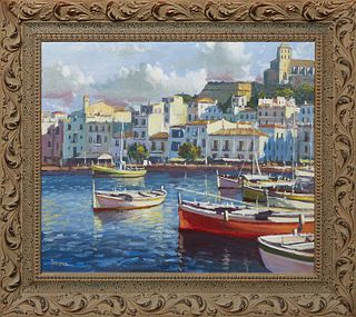 """Torregassa (Spain), """"Spanish Coastal Town with Boats Docked at Harbor,"""" 21st c., oil on canvas, signed lower left, presented in a polychromed wood fra"""