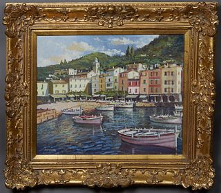 """Torregassa (Spain), """"Portofino, Italy,"""" 20th c., oil on canvas, signed lower left, with gallery receipt en verso, presented in a gilt frame, H.- 19 1/"""