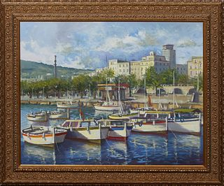 """Torregassa (Spain), """"Spanish Harbor Scene,"""" late 20th c., oil on canvas, unsigned, presented in a gilt frame, H.- 22 in., W.- 28 1/4 in., Framed- H.-"""