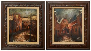"""M. Rijke, """"Road Through the Town"""" and """"The Town at Night,"""" 20th c., pair of oils on canvas, signed lower right, presented in wood frames, H.- 19 1/4 i"""