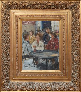 """Josep Bonet Subirats (1965-, Spain), """"Three People at a Table,"""" 21st c., oil on canvas, signed lower left, presented in a gilt wood frame, H.- 15 3/4"""